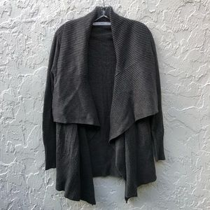 WOOLRICH Gray Chunky Open Front Sweater Me…